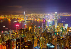 The nocturne of Hong Kong. The photo was taken in Kowloon Hongkong, China Stock Image
