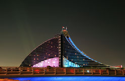 Nocturne Hotel. Jumeirah Beach Hotel Night-view Royalty Free Stock Photography