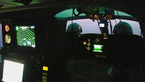 Nocturne inside of a Spanish Customs Helicopter. Eurocopter AS-365N-3 Dauphin 2 of the Spanish Customs before takeoff, on october 10, 2016 in San Javier stock video