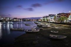 Nocturne landscape. Nocturne marine view in Arrecife, Lanzarote Stock Images