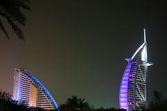 Nocturne of Luxury Hotels. Nocturne of Burj Arab and Jumeirah Beach Hotel Royalty Free Stock Photos