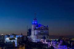 Nocturne of Madrid. Sight airs of Madrid in the night, Spain Stock Photo