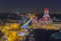 Nocturne of Madrid. Sight airs of Madrid in the night, Spain Royalty Free Stock Photos