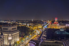 Nocturne of Madrid. Sight airs of Madrid in the night, Spain Stock Images