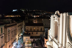 Nocturne panorama of Naples. Naples, nocturne landscape of roofs in  historical center Stock Photos
