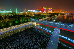 Nocturne of riverside. The nocturne of Fen River in Taiyuan, Shanxi, China Stock Images