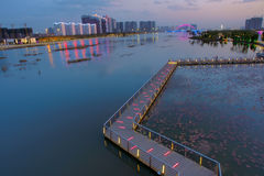 Nocturne of riverside. The nocturne of Fen River in Taiyuan, Shanxi, China Royalty Free Stock Photography