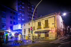 Nocturne. Street with tunnel in the night Stock Photos