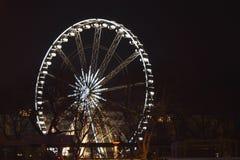 Nocy światła Ferris koło na Grudniu w Budapest na Styczniu 1, 2018 obrazy royalty free