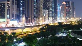 Nocy światła mosta 4k czasu upływ od Dubai miasta zdjęcie wideo