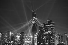 Nocy światła przedstawienie nad CBD terenem w Bangkok obrazy royalty free
