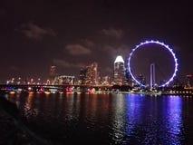 Nocy światło w Singapur fotografia royalty free