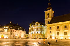 Nocy życie W Sibiu Dziejowym centrum Obraz Stock