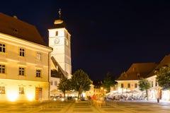 Nocy życie W Sibiu Dziejowym centrum Zdjęcia Stock
