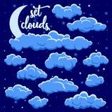 Nocy chmury ilustracyjne ilustracja wektor