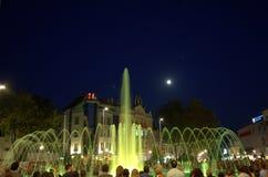 Nocy fontann kwadratowy przyciąganie Zdjęcie Stock