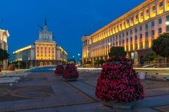 Nocy fotografia budynki prezydentura, budynki rada ministrów i Poprzedni komunisty Pa, zdjęcie royalty free