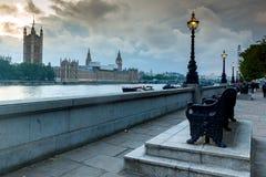 Nocy fotografia domy parlament z Big Ben od Westminister mosta, Londyn, Anglia, Wielki b Fotografia Royalty Free