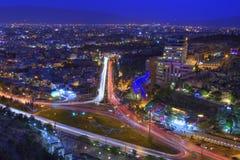 Nocy fotografia iluminujący miasto od odgórnego widoku, Shiraz, Ira zdjęcia stock