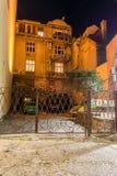 Nocy fotografia Skadarlija okręg w Starym miasteczku w centrum miasto Belgrade, Serbia obrazy royalty free