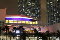 Nocy fotografii American Airlines arena Obrazy Royalty Free
