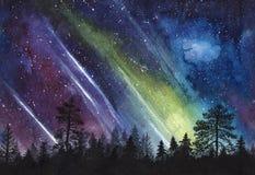 Nocy gwiaździsty niebo i las sylwetka - akwareli horizontally bezszwowa ilustracja Obrazy Royalty Free