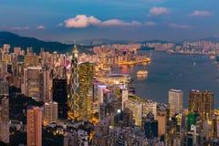 Nocy Hong Kong lekki środkowy biznesowy śródmieście fotografia royalty free