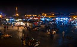 Nocy Jemaa el Fna squre w Marrakesh, Maroko Fotografia Royalty Free