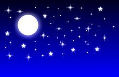 Nocy księżyc w pełni z błękitnym tłem royalty ilustracja