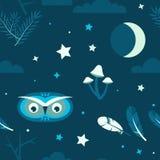 Nocy lasowa sowa bezszwowa Obrazy Royalty Free