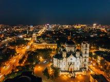 Nocy lata Voronezh pejza? miejski Annunciation katedra i wierza zarz?dzanie po?udniowo-wschodni kolej obrazy stock