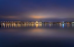 Nocy linia horyzontu Dnipropetrovsk Obrazy Stock