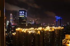 Nocy linia horyzontu Guangzhou z nowożytnym okręgiem Obrazy Royalty Free