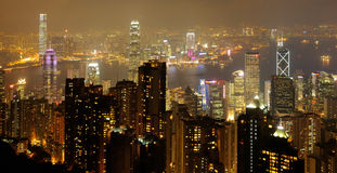 Nocy linia horyzontu Hong Kong obrazy royalty free
