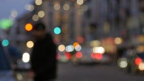 Nocy miasta światła i ruchu drogowego tło zbiory wideo