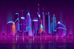 Nocy miasta futurystyczny krajobrazowy wektorowy tło ilustracji