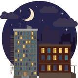 Nocy miasta Miastowej Krajobrazowej nieruchomości ikony wektoru Round Płaska ilustracja Zdjęcie Stock