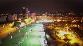 Nocy miasta powietrzna niecka, światła błyska w ciemności, elektryczności spożycie zdjęcie wideo