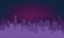 Nocy miasta sylwetka Obrazy Stock