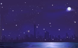 Nocy miasta tło Zdjęcia Royalty Free