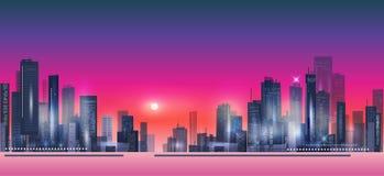 Nocy miasta tło Obraz Royalty Free