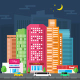 Nocy miasta ulica ilustracja wektor