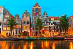 Nocy miasta widok Amsterdam kanał Herengracht Obrazy Royalty Free