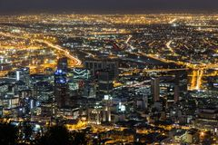 Nocy miasta widok Kapsztad zdjęcia royalty free