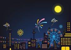 Nocy miasta wydarzenia festiwalu projekta tła plakatowy wektor royalty ilustracja