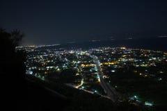 nocy miasteczko od above fotografia stock