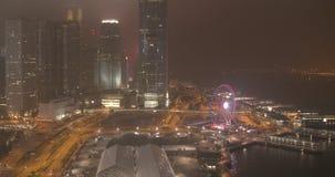 Nocy miasto, drapacze chmur i budynki z oświetleniem, zdjęcie wideo