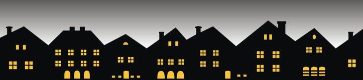 Nocy miasto, grupa domy, frontowy widok ilustracji