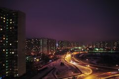Nocy miasto. Krilatskoe, Moskwa Zdjęcia Stock