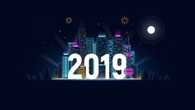Nocy miasto w neonowych światłach 2019 Nowożytny futurystyczny tło z dużym miastem dla powitanie szablonu również zwrócić corel i royalty ilustracja